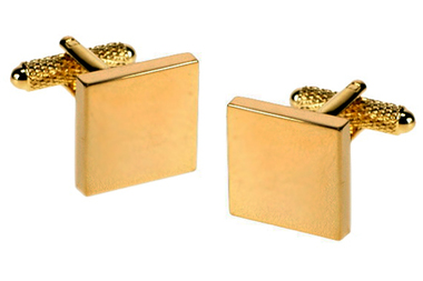 Gold coloured square cufflinks